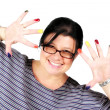 Stock Photo: Female artist having fun with paint