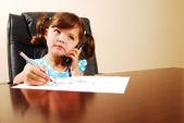 Girl talking on telephone — Stock Photo