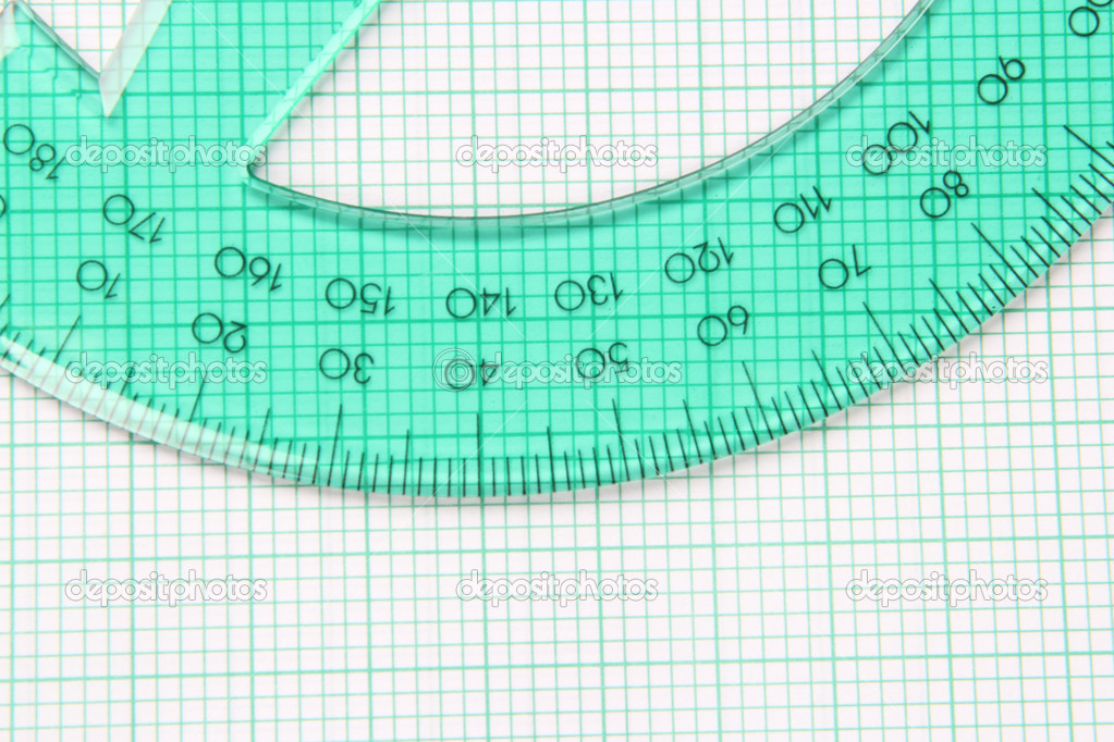 Translucent green protractor on green striped graph paper  Stock Photo #6429660