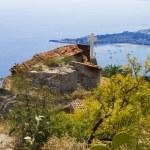 City of Taormina,church and sea bay — Stock Photo