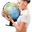Woman love the planet earth — Stock Photo