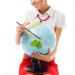 Woman with globe — Stock Photo