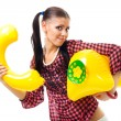 Shy woman want to make a call — Stock Photo