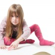Little girl don't wont to be disturb while drawing — Stock Photo