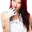 Attractive woman with dirty clothes — Stock Photo #5556788