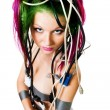 Woman with color hair wire - ストック写真