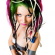Woman with color hair wire - Stock Photo