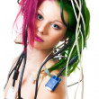 Beautiful womwith computer cords — Stock Photo #5556796