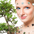 Stock Photo: Beautiful futuristic look woman with tree