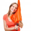 Happy woman with umbrella — Stock Photo #5557030