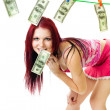 Attractive woman with us dollars — Stock Photo