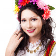 Stock Photo: Happy womwear wreath of flowers