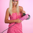 Woman with pinky working tool — Stock Photo