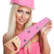 Blondie woman with pink tool — Stock Photo