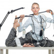 Flexible business woman dealing with disorder — Stock Photo