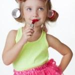 Little girl play big one — Stock Photo
