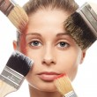 Brushes, makeup and face — Stock Photo