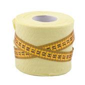 Centímetro y papel higiénico — Foto de Stock