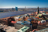 City panaram and view on a bridge in Riga — Stock fotografie