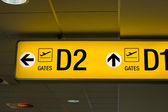 Departure gate sign in the airport — Stock Photo