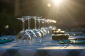 Glasses on a table at restaurant — Stock Photo