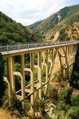 Mountain bridge over the river — Стоковое фото