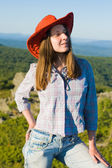 Woman in cowboy hat — Stock Photo