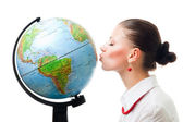 Woman show love to planet — Stock Photo