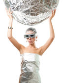 Future robot woman with silver disk — Stock Photo