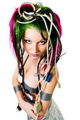 Woman with color hair wire — Stock Photo