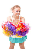 Woman cheer leader shaking pompoms — Stock Photo
