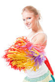 Woman cheer leader smile and shake pompoms — Stock Photo