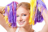 Close up portrait of a woman cheer leader — Stock Photo