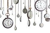 Relógios de bolso na cadeia isolada — Foto Stock