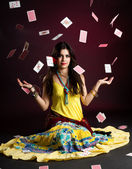 Gypsy woman with and cards — Stock Photo