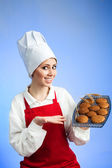 Chef offer tasty cookies — Stock Photo