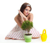 Waiting for plant to grow — Stock Photo