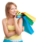 Woman with color bags — Stock Photo