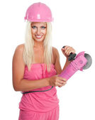 Woman with pink grinder — Stock Photo