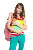 Glückliche junge studentin mit büchern — Stockfoto