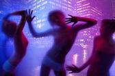 Women silhouette dancing — Stock Photo