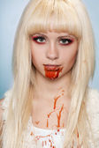 Close-up portrait of vampire girl — Stock Photo