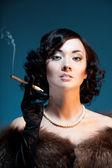 Enjoying cigar — Stock Photo