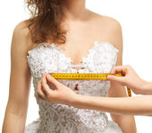 Measuring the breast size — Stock Photo