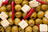 Olives, chili pepper and sheep cheese — Stock Photo