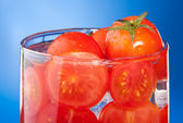 Close-up allegory of glass with tomato juice — Stock Photo