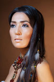 Close-up portrait of American Indian girl — Stock Photo