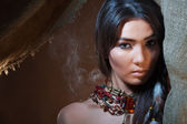Lovely and passionate look of American Indian girl — Stock Photo