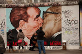 Berlin Wall Brezhnev-Honecker Kiss Graffii — Stock Photo