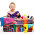Stock Photo: Happy baby with clothes